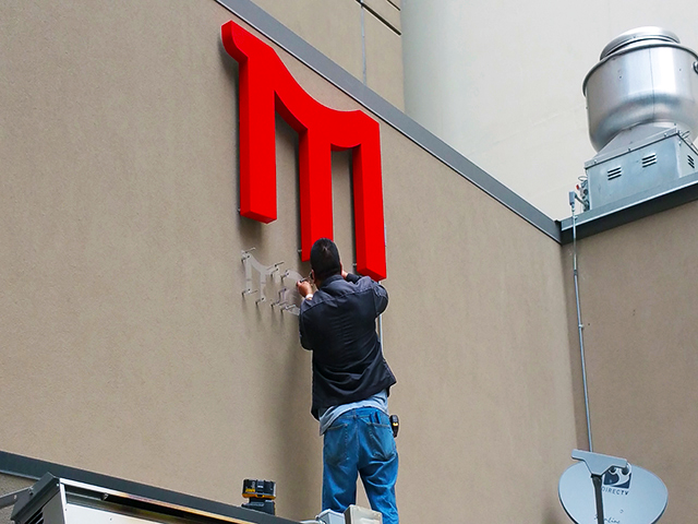 Installation of reverse channel letters