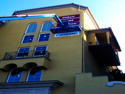 Installation of large format banner